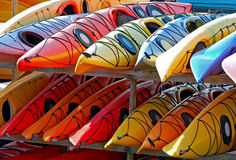 A Rack of Kayaks. Ready for the Summer Royalty Free Stock Images