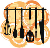 Rack of kitchen utensils. Stock Images