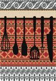 Rack of kitchen utensils. Stock Images