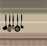 Rack of kitchen utensils on ancient background Royalty Free Stock Photography