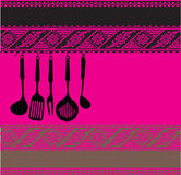 Rack of kitchen utensils on ancient background Royalty Free Stock Images