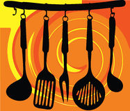 Rack of kitchen utensils illustration Royalty Free Stock Images