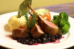 Rack of Lamb. With a Cranberry Compote royalty free stock photography