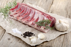 Rack of lamb on brown paper Royalty Free Stock Image
