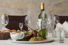 Rack of lamb with bulgur. And grilled vegetables Stock Photography