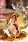 Rack of lamb with caramelized onions and bread Royalty Free Stock Image