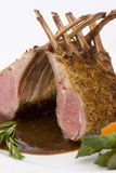 Rack of Lamb - Close. Herb crusted rack on lamb royalty free stock photography