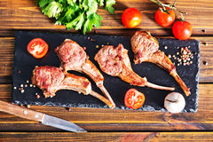 Rack of lamb fried with aromatic olive oil Royalty Free Stock Photography