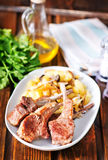 Rack of lamb fried with aromatic olive oil Stock Photography