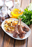 Rack of lamb fried with aromatic olive oil Royalty Free Stock Image