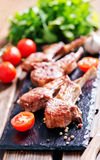 Rack of lamb fried with aromatic olive oil Stock Photo