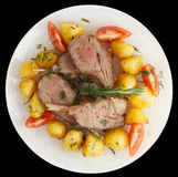 Rack of lamb with fried potatoes isolated on black Royalty Free Stock Photography