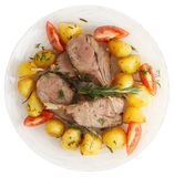 Rack of lamb with fried potatoes isolated on white Stock Photos