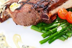 Rack of lamb on grill with an asparagus Stock Photos