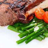 Rack of lamb on grill with an asparagus Stock Images