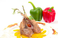 Rack of Lamb with Grilled Peach Royalty Free Stock Image