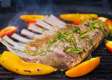 Rack of lamb grilling Royalty Free Stock Image