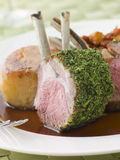 Rack of Lamb with a Herb Crust Potato Fondant Royalty Free Stock Photography