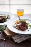 Rack of Lamb with mushrooms and roast potatoes Royalty Free Stock Image