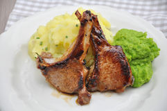 Rack of Lamb with peas Stock Photography
