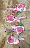 Rack of Lamb with rosemary and spices over oily craft paper background Royalty Free Stock Images