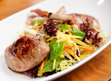 Rack of lamb with salad Royalty Free Stock Image