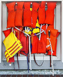 Rack of Life Vests royalty free stock photo