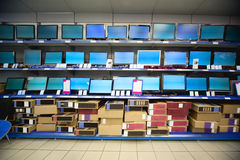 Rack with liquid crystal displays and monitors Stock Photo