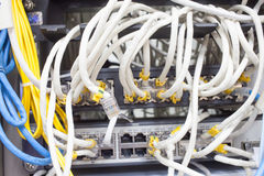 Rack Main Server Internet Connected with Cluttered LAN cables. Stock Images
