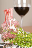 Rack of Marinated Lamb and Red Wine Royalty Free Stock Photos