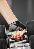 Rack with metal dumbbells in gym. Royalty Free Stock Photos