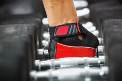 Rack with metal dumbbells in gym. Stock Photos