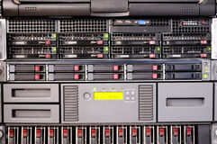 Rack mount server front view. Rack mounted disk array  and server front view Stock Photos