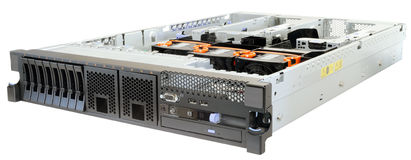 Rack-mount server isolated. Rack mount server without top cover isometric view, isolated on the white background Stock Photography