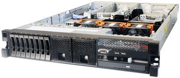 Rack-mount server over white. Rack mount server without top cover isometric view, isolated on the white Stock Photos