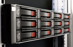Rack-mounted disk array Royalty Free Stock Photo