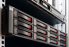 Rack-mounted disk array. Server Stock Photography