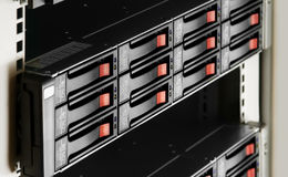 Rack-mounted disk array Stock Photo