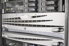 Rack mounted equipment. Rack mounted blade servers and system storage Stock Photography