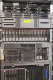 Rack mounted equipment background. Fragment of rack mounted telecommunication box with  IT equipment Stock Photos