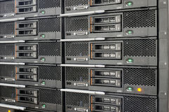 Rack mounted equipment. Rack mounted blade servers background Stock Images
