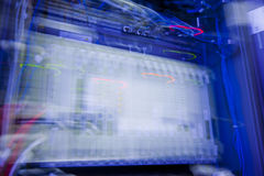 Rack Mounted Servers. Blue Rack Mounted Servers shot with long exposure motion blur Stock Photography