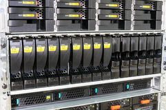 Rack mounted servers. Rack mounted system storage and blade servers Royalty Free Stock Photos
