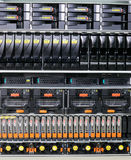 Rack mounted servers. Rack mounted system storage and blade servers background Royalty Free Stock Image