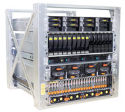 Rack mounted servers. Rack mounted system storage and servers isolated on white Stock Photo