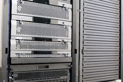 Rack mounted system storage. And and empty rack Stock Images