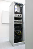 Rack with network equipment Royalty Free Stock Image