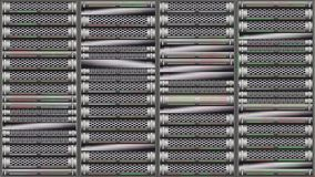 Rack of network servers with flashing LEDs stock footage