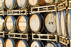 Rack of Old Oak Wine Barrels Royalty Free Stock Images