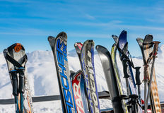 A rack packed with skis. Ski resort Livigno Royalty Free Stock Image
